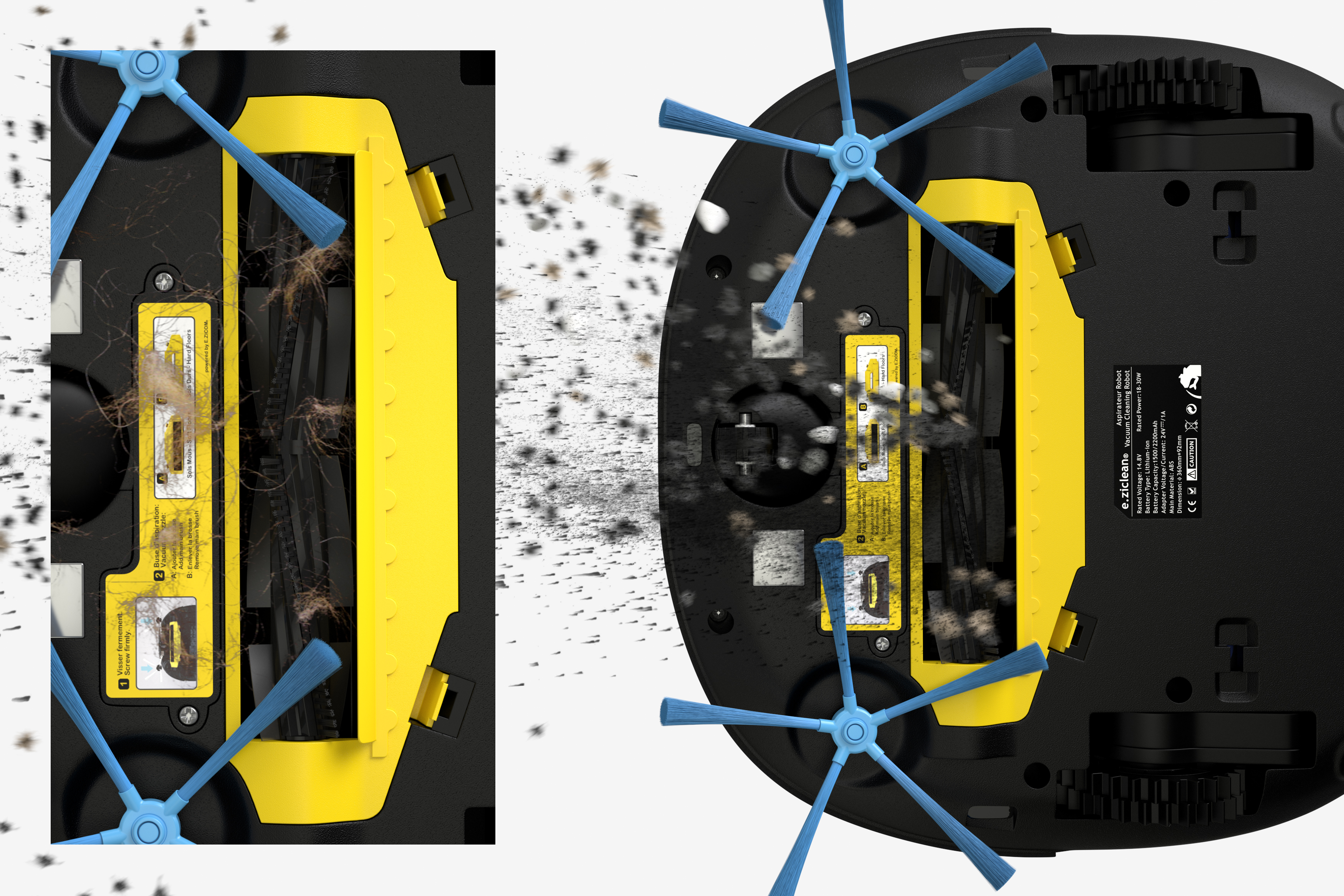 robot aspirateur sweepy eziclean brosse modulable