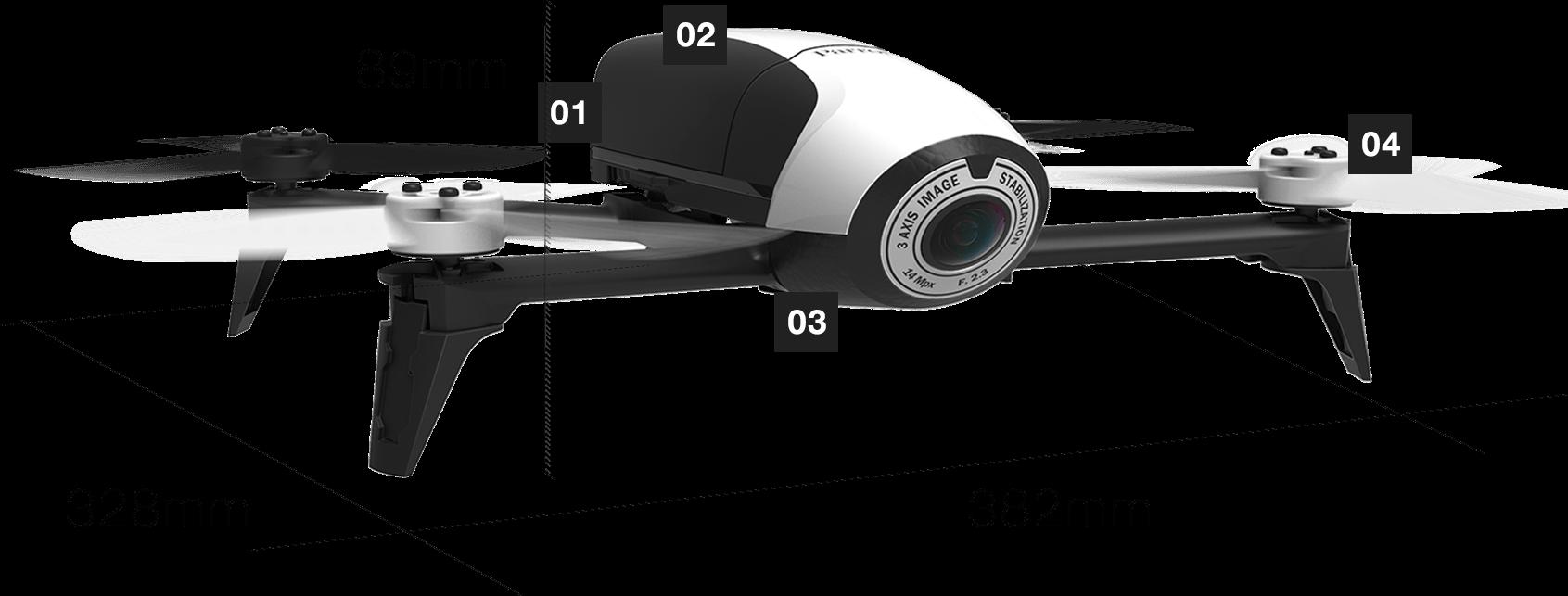 drone loisir parrot bebop 2 blanc